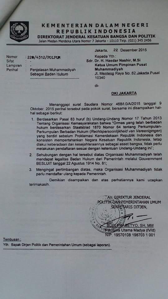Surat Resmi Pemerintah kepada Muhammadiyah