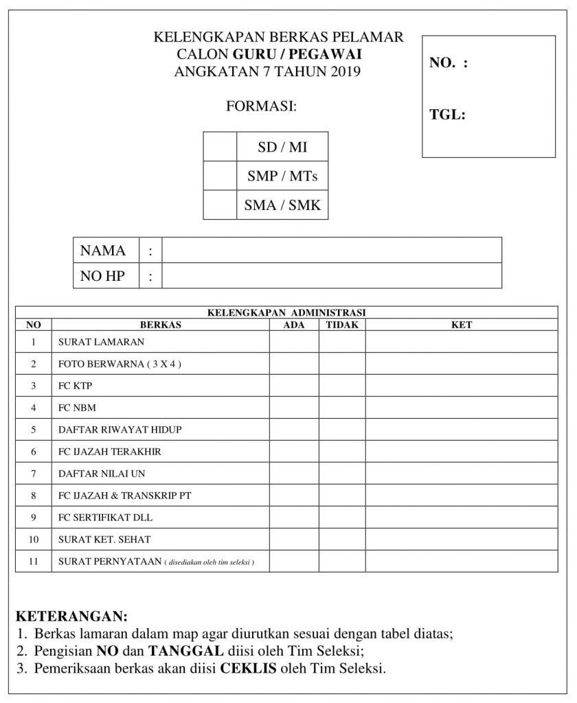 Blanko formulir Kelengkapan Berkas Pelamar dikonversi 1