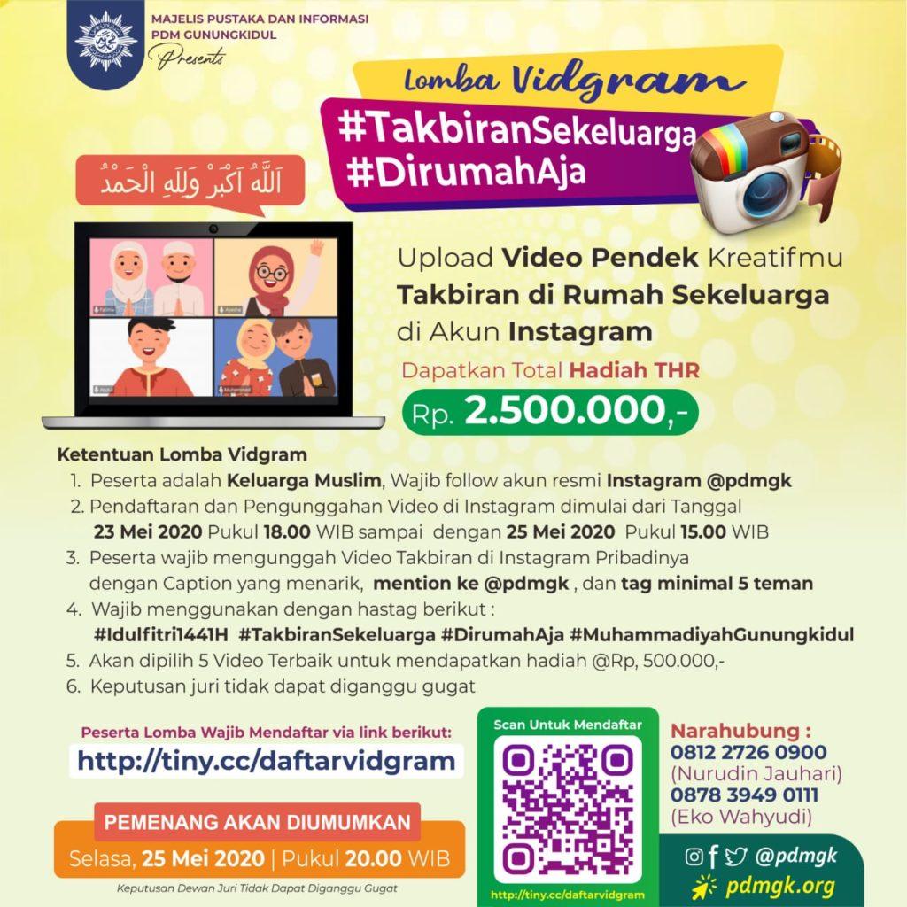 Lomba VidGram Muhammadiyah Gunungkidul Takbiran Sekeluarga di Rumah Saja